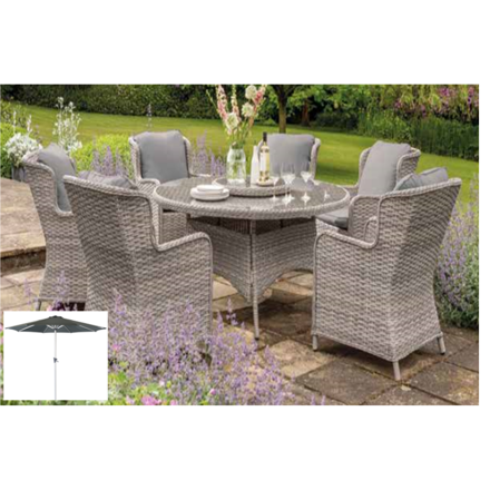 Picture of EDEN ROSE  RATTAN SET 1.5M 6 CHAIRS WITH PARASOL