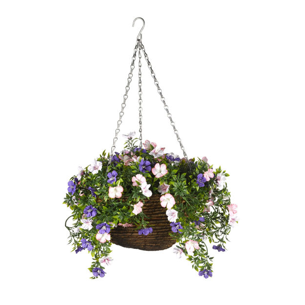 Picture of BASKET - HANGING EASY (LILAC) 30cm ARTIFICIAL
