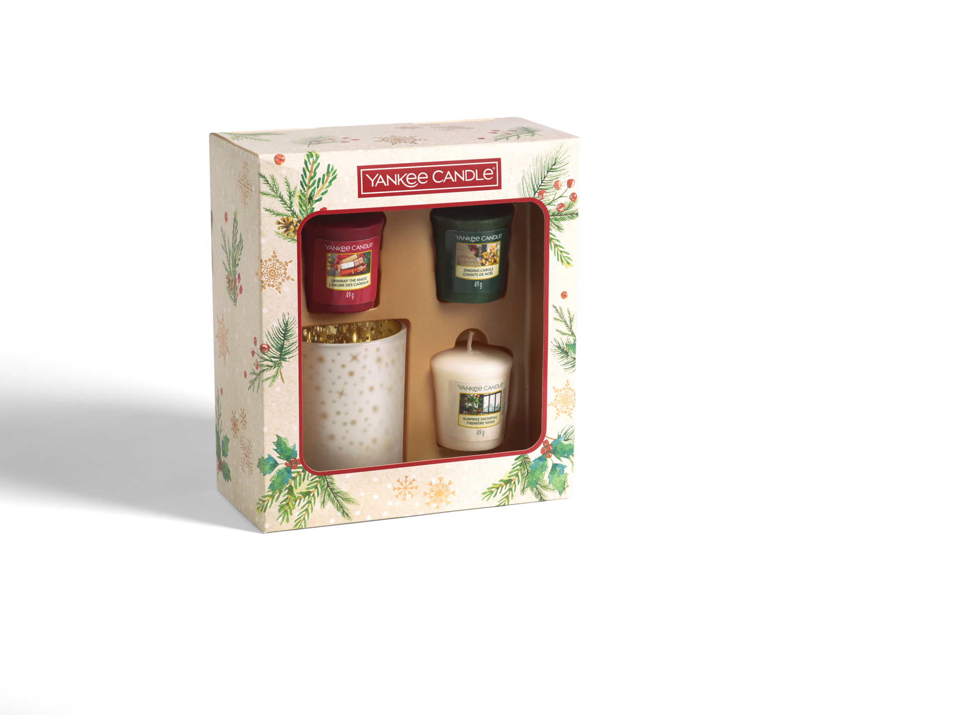 Picture of YANKEE CANDLE CHRISTMAS GIFT SET 3 VOTIVE + 1 HOLDER