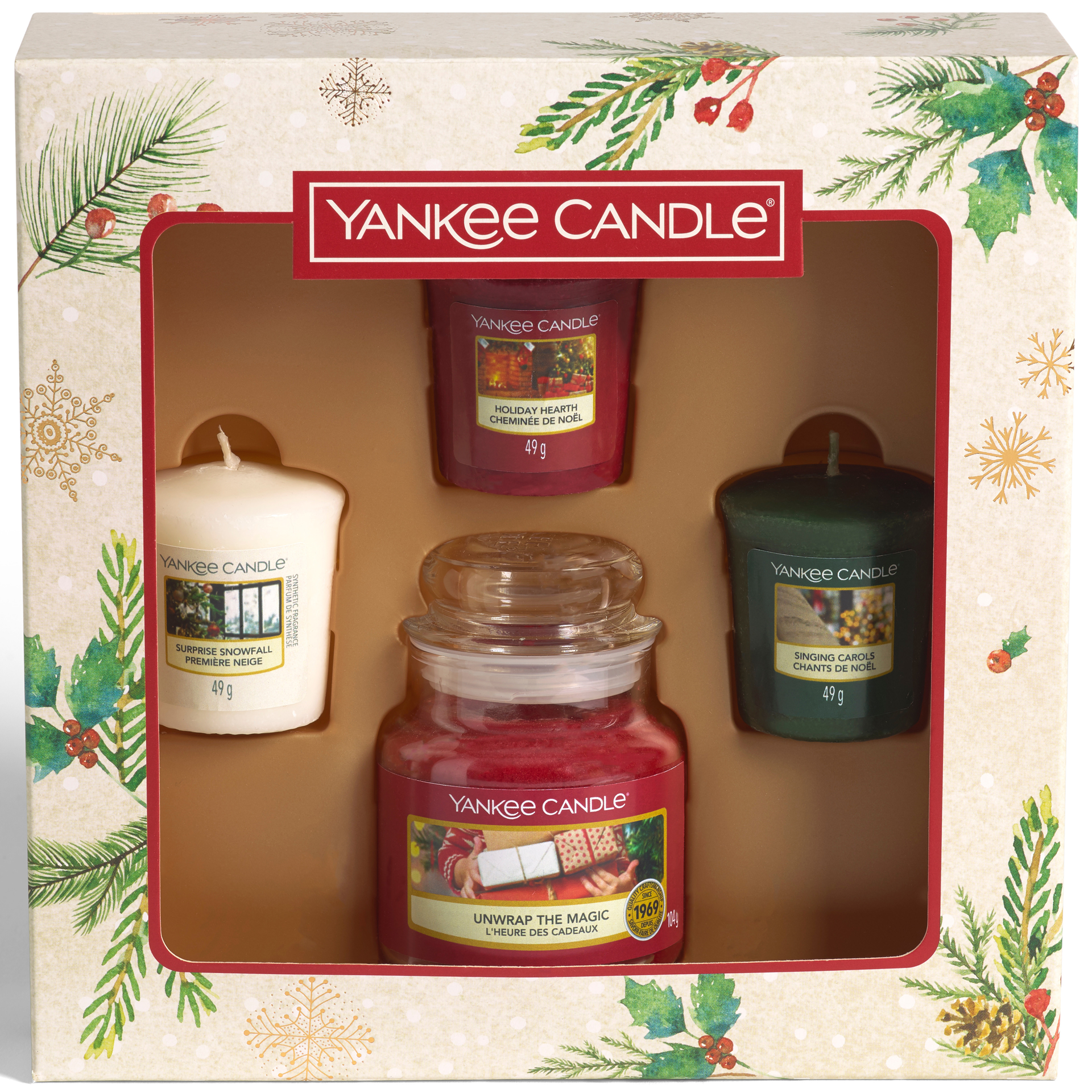 Picture of YANKEE CANDLE CHRISTMAS GIFT SET 3 VOTIVE + 1 SMALL JAR