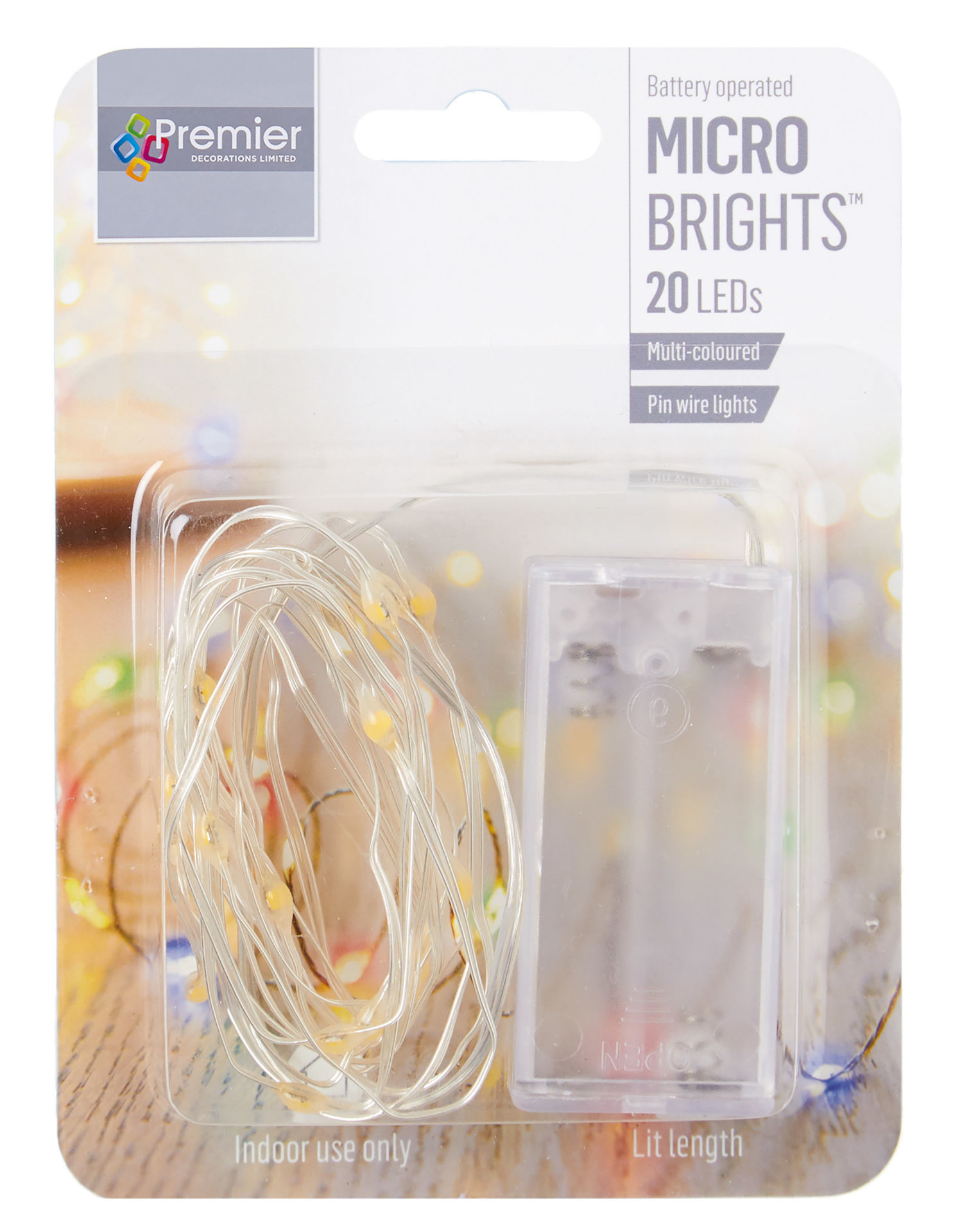 Picture of Lights - BATTERY OPERATED 20 MULTIBRIGHT Pin Wire Multi Coloured