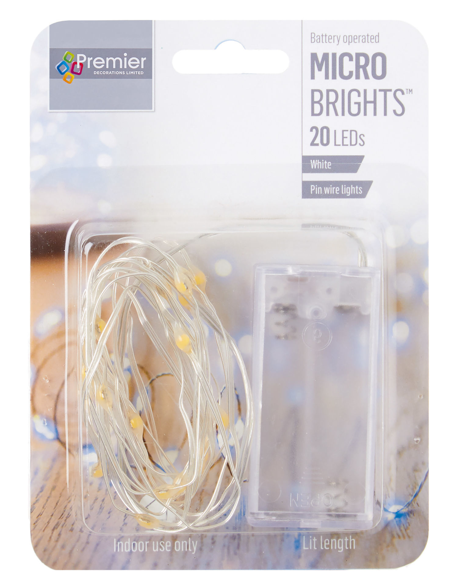Picture of Lights - BATTERY OPERATED 20 MULTIBRIGHT Pin Wire White