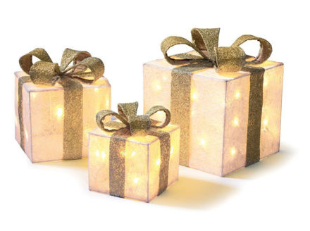 Picture of LED Set of 3 Lit Parcels - Cream and Gold