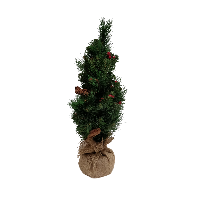Picture of Miniature Pine Cone & Berry Tree with Burlap Base - 60cm
