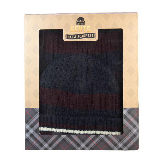 Picture of SCARF & HAT SET (BOXED) NAVY/BURG