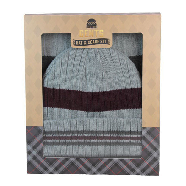 Picture of SCARF & HAT SET (BOXED) GREY/BURG