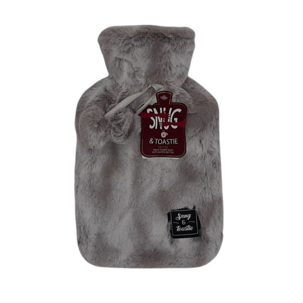Picture of HOT WATER BOTTLE - TWO TONE PLUSH (GRY)