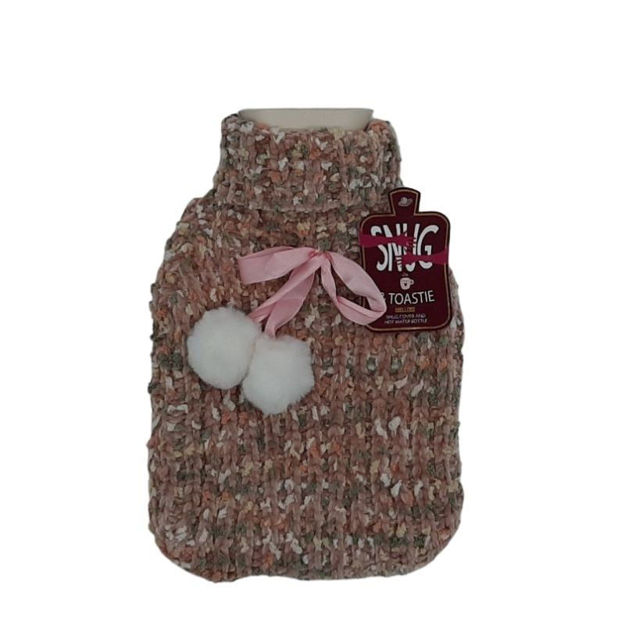 Picture of HOT WATER BOTTLE - BOBBLE KNIT PLUSH (PNK)