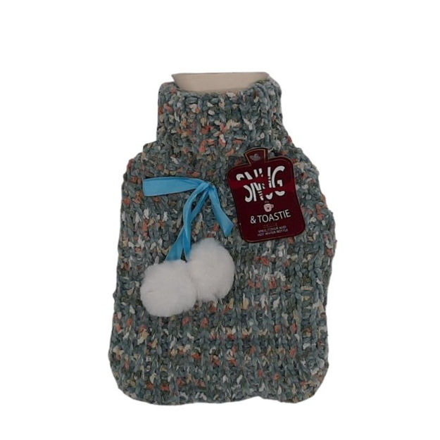 Picture of HOT WATER BOTTLE - BOBBLE KNIT PLUSH (BLUE)