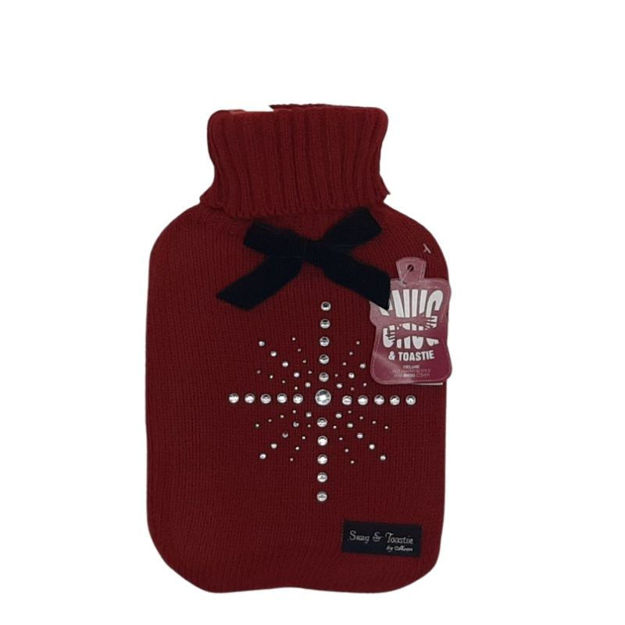 Picture of HOT WATER BOTTLE - DELUXE & COVER (RED)