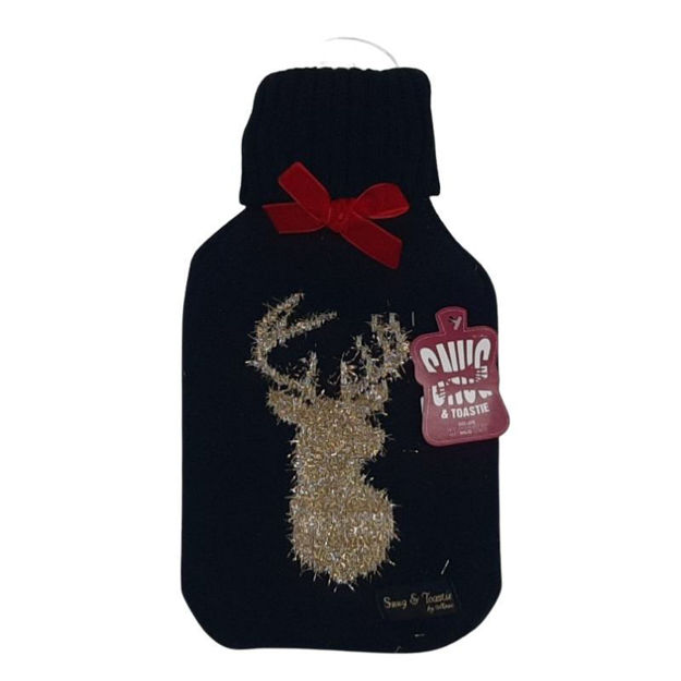 Picture of HOT WATER BOTTLE - DELUXE & COVER (BLACK)
