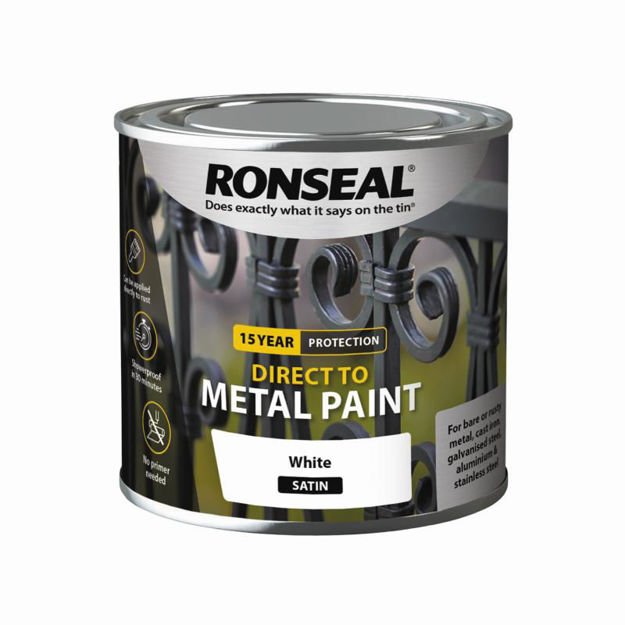 Picture of RONSEAL DIRECT TO METAL - WHITE SATIN 250ML