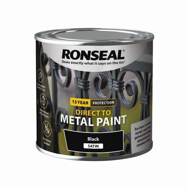 Picture of RONSEAL DIRECT TO METAL - BLK SATIN 250ML