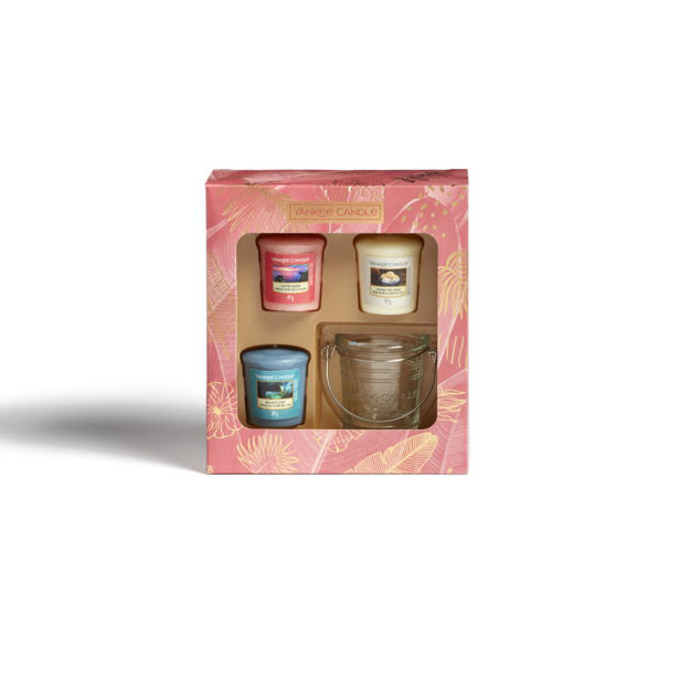 Picture of YANKEE CANDLE GIFT SET -3 VOTIVE  & HOLDER LAST PARADISE COLLECTION