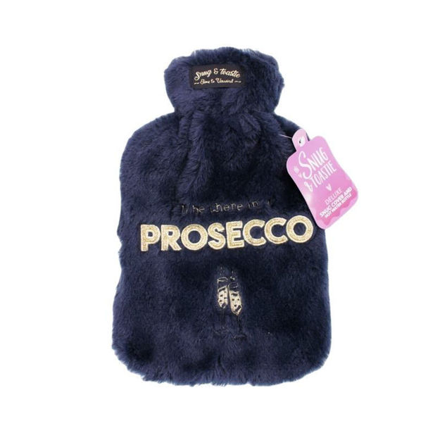 Picture of HOT WATER BOTTLE - SLOGAN PLUSH (NAVY)