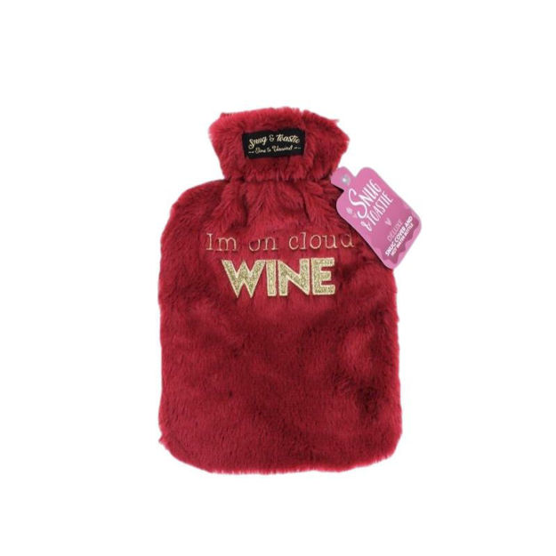 Picture of HOT WATER BOTTLE - SLOGAN PLUSH (WINE)