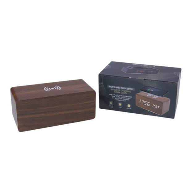 Picture of WIRELESS CHARGING ALARM CLOCK - WOOD
